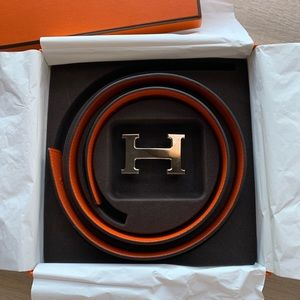 Brand New Hermes Belt with Silver 'H' Buckle